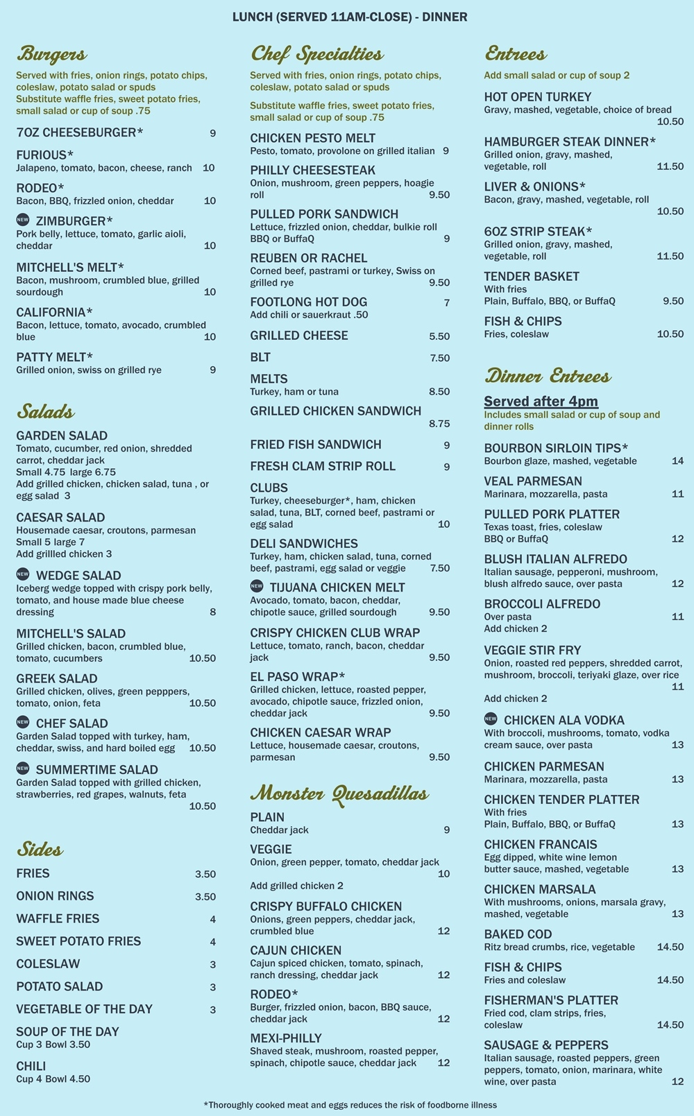 Mitchell's Vernon, CT lunch and dinner menu